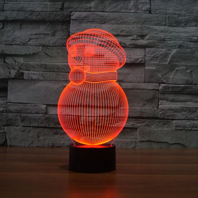 مصباح على شكل رجل الثلج باللون الاحمر